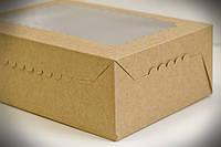 Коробка для 12 кексов, капкейков, маффинов с прозрачным окном, 355х250х100 мм, крафт