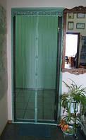 Москитная сетка на магнитах дверная зелёная