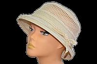 Шляпа женская Парижанка лен беж цветы