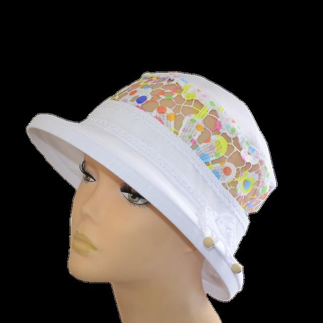 Шляпа Парижанка белая + ажур конфетти, лен