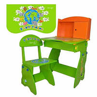 Парта детская со стульчиком, зелено-оранжевая
