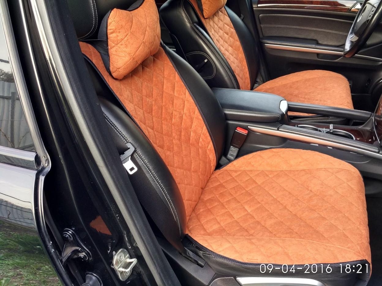 Накидки на сиденья коричневые Premium (передние сиденья)