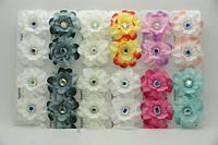 Серьги цветы из ткани 12 пар