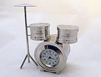 Часы NEW DAY в виде барабанной установки - серебристые
