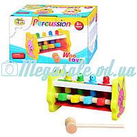 """Деревянная игрушка стучалка """"Веселый молоточек"""": 4 клавиши, молоточек"""