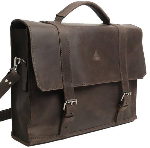 Мужской строгий кожаный портфель Agruz 72992-1 коричневыйРазмеры: 35х25х9 см.