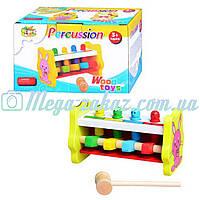 Деревянная игрушка стучалка Веселый молоточек 0326: 4 клавиши, молоточек