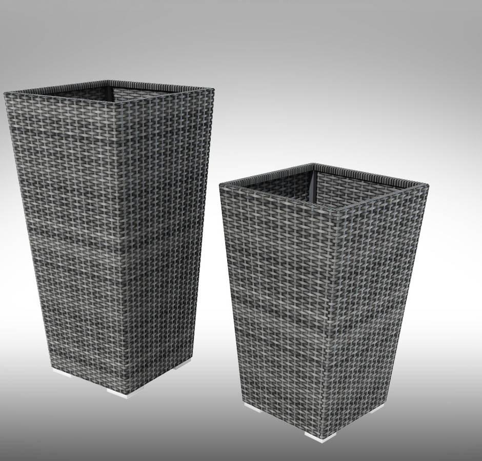 Квіткова ваза  TIGRE коричнева, сіра  80х44х44см   плетена   з ротангу