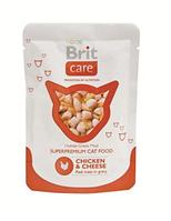 Брит Кер Кет пауч с курицей и сыром 80гр, консервы для кошек, суперпремиум