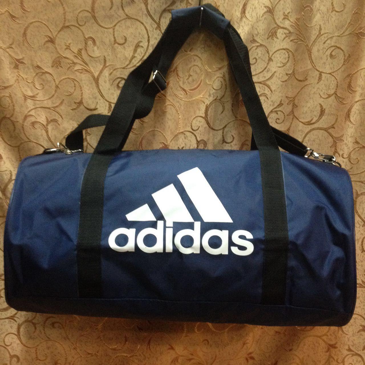 Спортивна сумка-циліндр Adidas, Адідас синя з білим ( код: IBS042Z )
