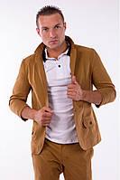 Пиджак мужской под джинсы 2445 стильный приталенный бежевый (пиджаки молодежные)