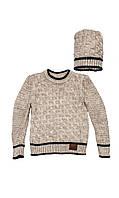 Комплект детский: свитер с шапкой 146-152