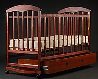 Детская кроватка Ecobaby, дуга-колеса, ясень, опускная  боковина, ящик