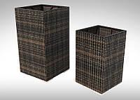 Цветочная ваза LEOPARD  40х40х80 см  плетеная   из ротанга . коричневая , серая