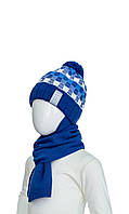 Шапка с ушками и шарф 48-50
