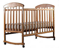 Детская кроватка Ecobaby, дуга-колеса, ясень, опускная  боковина