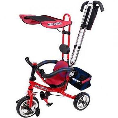 Велосипед трехколесный с ручкой для мамы детский на 1, 2, 3 года, красного цвета