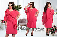 Платье женское микро масло+ шифон размеры Л (48-50) ХЛ (52-54)