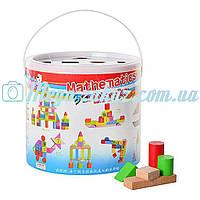 Деревянная развивающая игрушка конструктор городок 0681: 70 деталей + пластиковая крышка-сортер