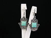 """Серьги из """"хамса"""" со вставками бирюзы, фото 1"""