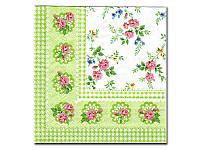 Салфетка для декупажа Katrin —  Зеленый платок,  33x33 см