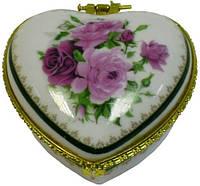 Шкатулка сердце из фарфора 75х75х35