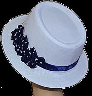Шляпа женская Блюз шитье белый лен + синие цветы