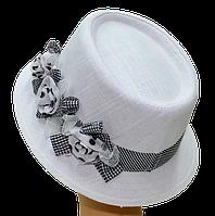 Шляпа женская Блюз шитье лен белый + ч/б цветы
