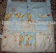 """Карман для детской кроватки-""""Пчелки голубые"""""""
