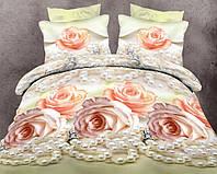 Двуспальный с евро простынью комплект Жемчужная Роза
