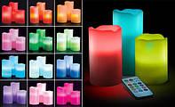 Набор из 3 LED свечей с дистанционным управлением (6', 5', 4'), 12 цветов