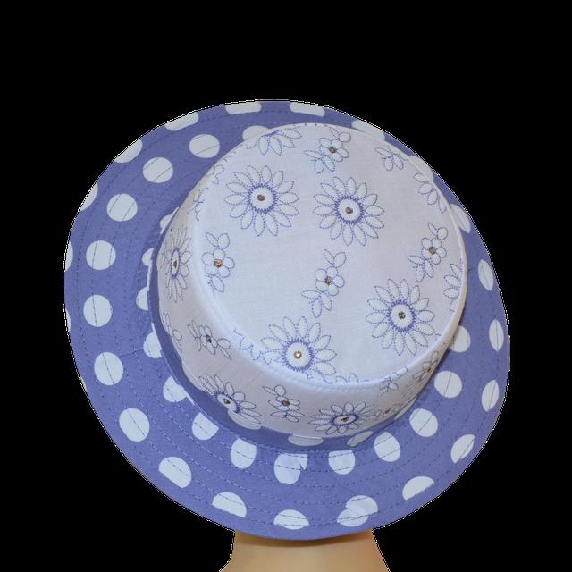 Шляпа Канотье голубой принт