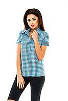 Рубашка женская в клетку - Голубой