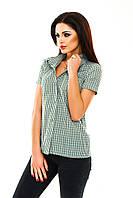 Рубашка женская в клетку - Зеленый