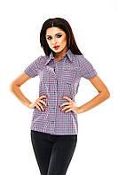 Рубашка женская в клетку - Фиолетовый