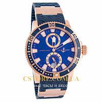 Механические мужские часы элегантные Ulysse Nardin Marine Automatic 200 m gold blue