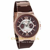 Мужские наручные часы элегантные Ulysse Nardin Marine Diver Gold Brown