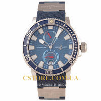 Механические мужские часы Швейцарские Ulysse Nardin Marine Automatic 200 m silver blue