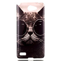 Чехол накладка для LG Max X155 силиконовый IMD3, Кот в очках