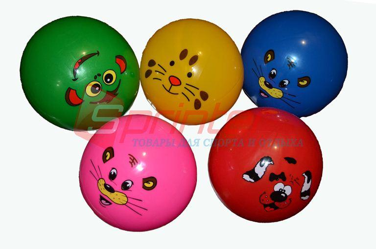 Мячик игровой с мордочками d-18.Цвета в ассортименте