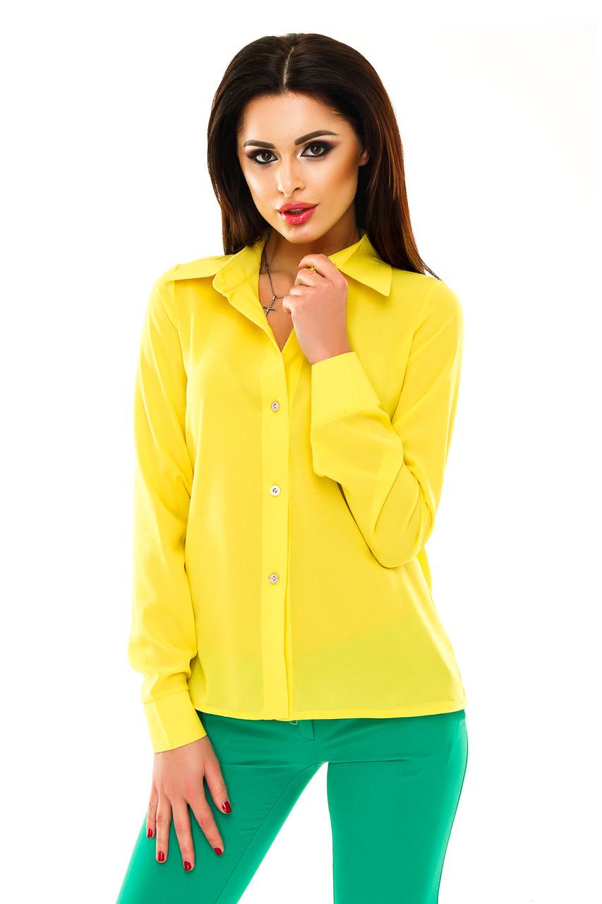 Рубашка женская однотонная с длинным рукавом - Желтый 19129dc71a7ca