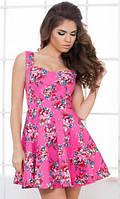 Летнее пышное женское платье с цветочным принтом на бретелях коттон