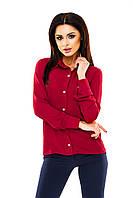 Рубашка женская однотонная с длинным рукавом - Бордовый