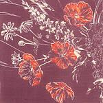 """Платок шелковый павловопосадский (креп-жоржет), """"Луговые маки"""", 84х84 см, фото 2"""