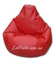 Красное кресло-мешок груша 120*90 см из кож зама Зевс