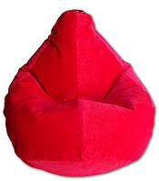 Велюровое кресло-мешок груша красная 120*90 см