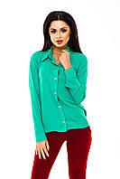 Рубашка женская однотонная с длинным рукавом - Зеленый