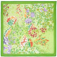 Платок шелковый павловопосадский (креп-жоржет) «Парк «Гуэль», 84х84 см, фото 1