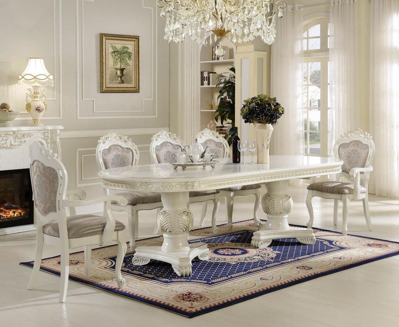 Большой обеденный стол  CLASSIC P66 2500 Т Exm , белый с патиной шампань