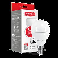 Лампа MAXUS LED G45  SMD 6W/3000K 220V Е14( 1-LED-543) БЕЗ ГАРАНТИИ РАСПРОДАЖА
